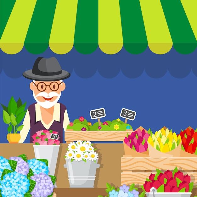 Ilustração em vetor plana flores venda negócios Vetor Premium