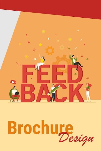 Ilustração em vetor plana gerenciamento de feedback do cliente. desenhos animados felizes minúsculos votando e dando avaliação ao serviço da empresa. crm, conselhos e conceito de avaliação Vetor grátis