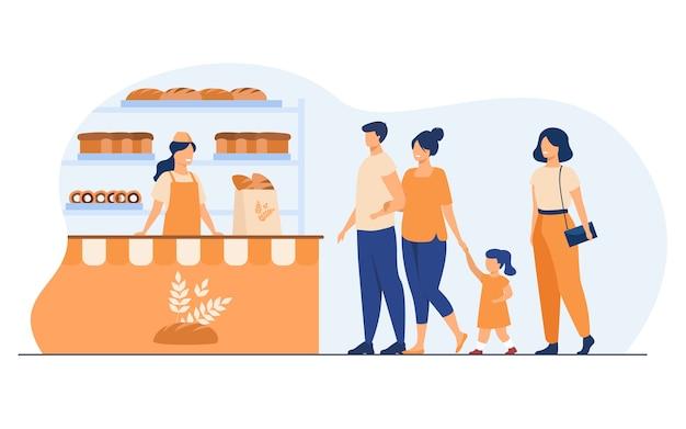 Ilustração em vetor plana interior de loja de pão pequeno. mulher dos desenhos animados e homem comprando lanches na loja e na fila. conceito de loja de negócios, alimentos e padaria Vetor grátis