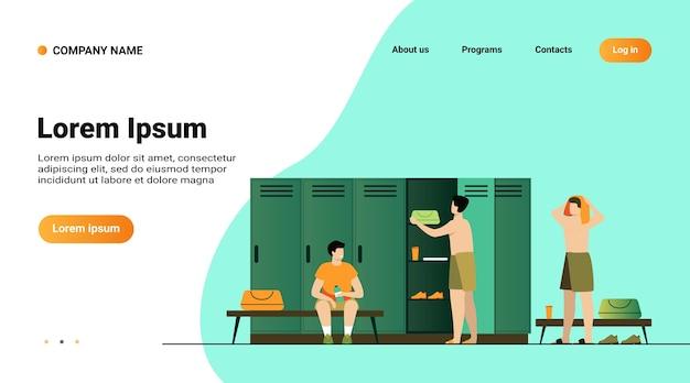 Ilustração em vetor plana isolada vestiário escolar. desenhos animados de futebol ou time de futebol trocando de roupa após o treino Vetor grátis