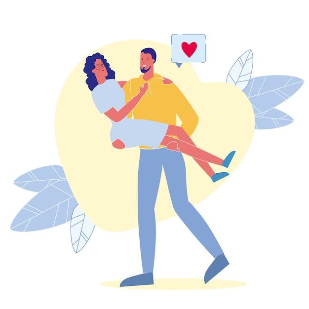 Ilustração em vetor plana relacionamento apaixonado Vetor Premium