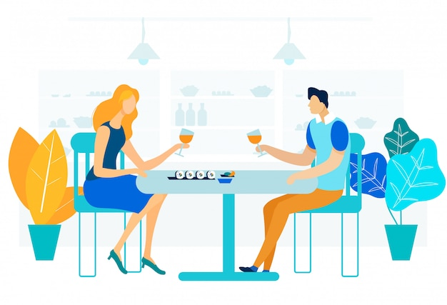 Ilustração em vetor plana romântico jantar gourmet Vetor Premium