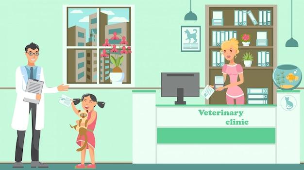 Ilustração em vetor plana veterinária nomeação Vetor Premium