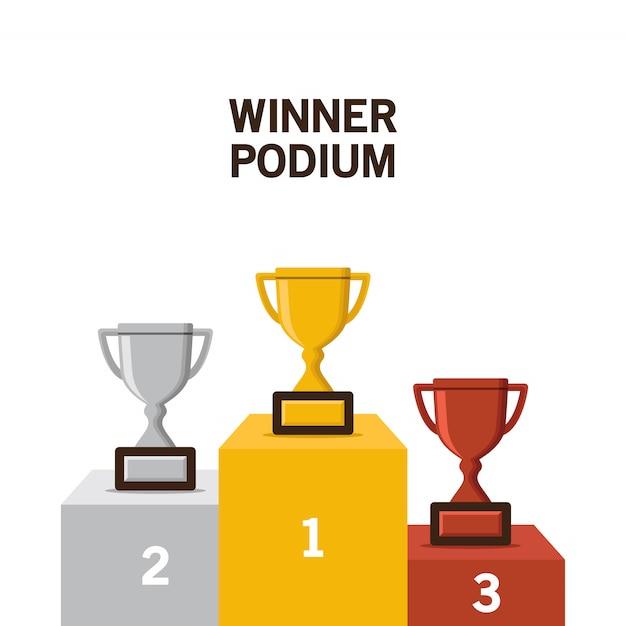 Ilustração em vetor pódio vencedor Vetor Premium