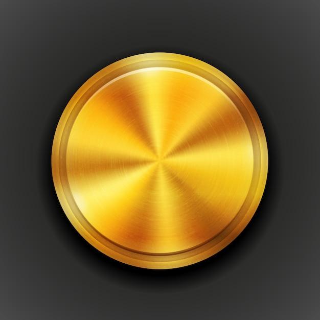 Ilustração em vetor preto com botão redondo de metal texturizado e dourado com padrão de textura de círculo concêntrico e brilho metálico. Vetor grátis