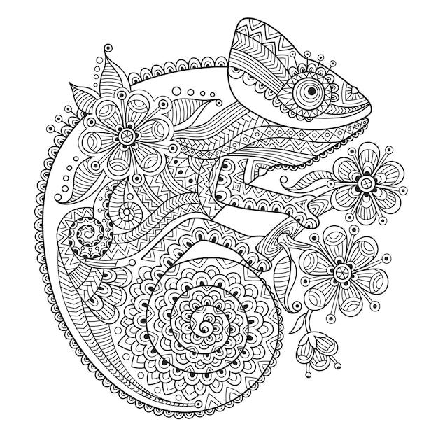 Ilustração em vetor preto e branco com um camaleão em padrões étnicos Vetor Premium