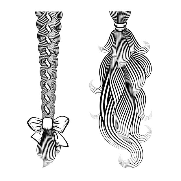 Ilustração em vetor preto e branco de cabelo solto amarrado em uma trança e rabo de cavalo com uma fita e uma faixa Vetor grátis