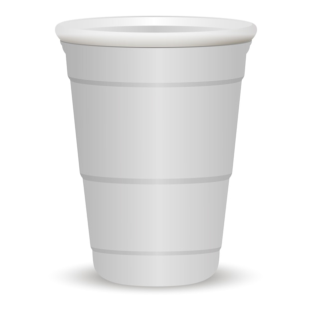 Ilustração em vetor realista 3d festa copo branco Vetor Premium