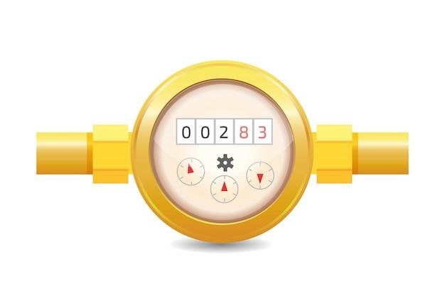 Ilustração em vetor realista medidor de água analógica. equipamento sanitário Vetor Premium