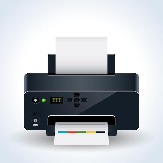 Ilustração em vetor realista moderna impressora desktop Vetor Premium