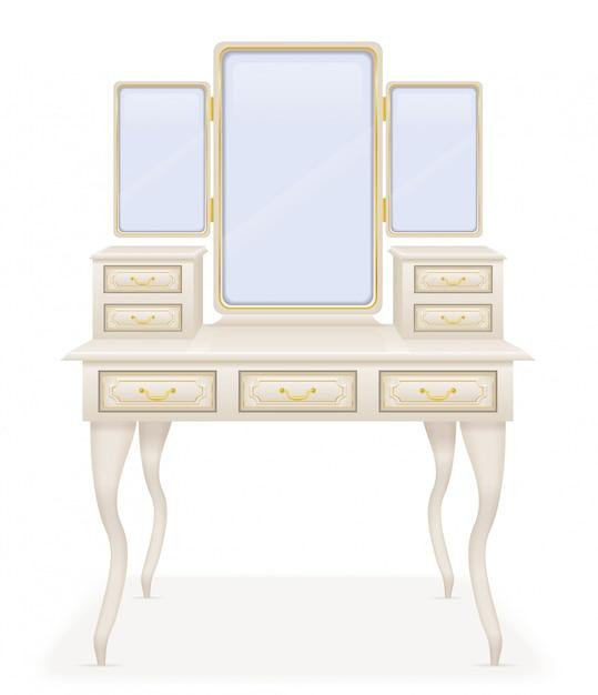 Ilustração em vetor retrô mobília velha mesa de vaidade Vetor Premium