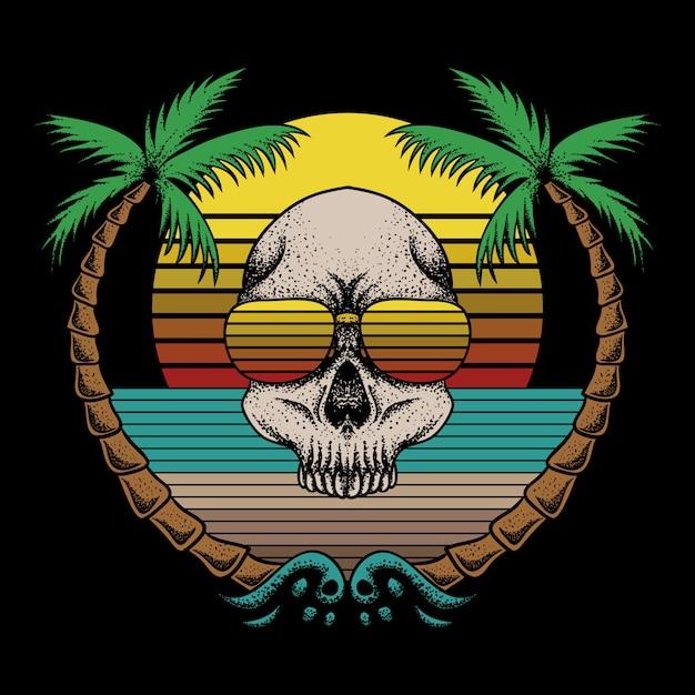 Ilustração em vetor retrô praia crânio Vetor Premium