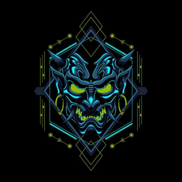 Ilustração em vetor ronin evil devil samurai Vetor Premium