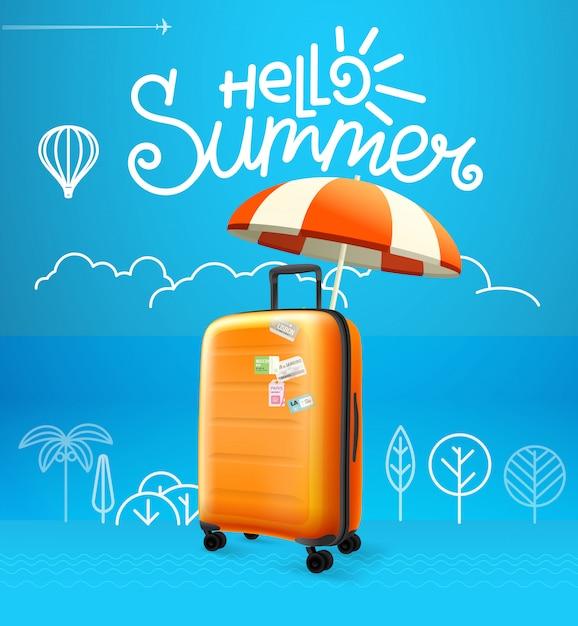 Ilustração em vetor saco de viagem. conceito de férias Vetor Premium