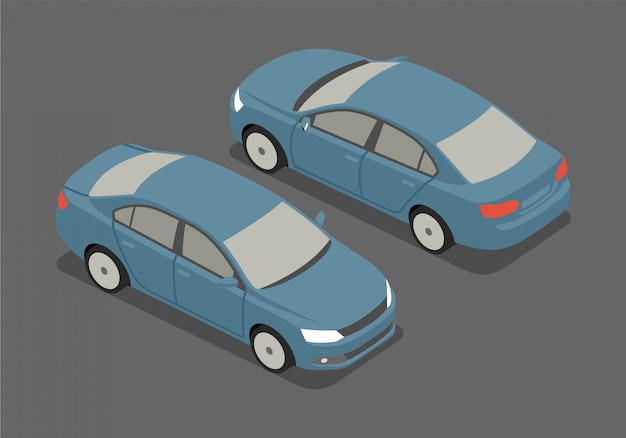 Ilustração em vetor sedan isométrica Vetor Premium