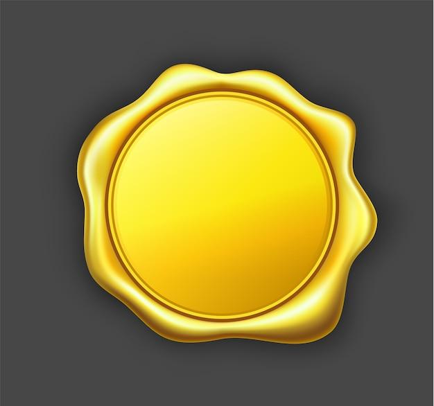 Ilustração em vetor selo cera dourada. Vetor Premium
