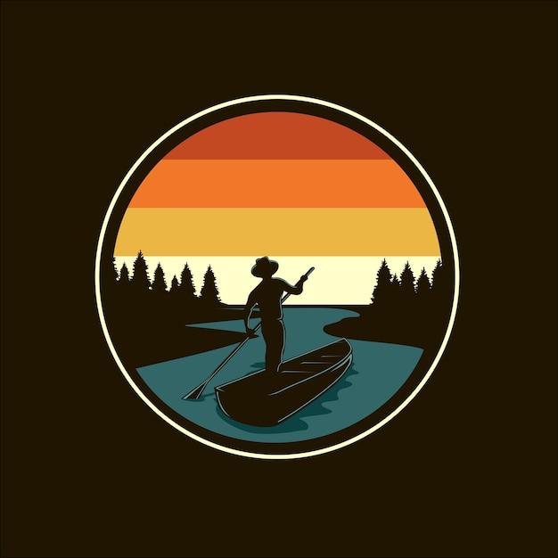 Ilustração em vetor silhueta rio e barco Vetor Premium