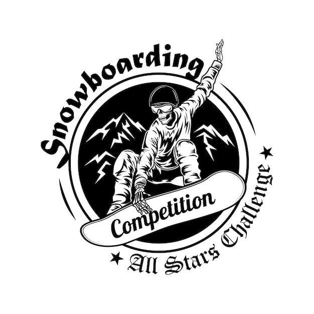 Ilustração em vetor símbolo competição snowboard. esqueleto em capacete com texto. atividade de inverno e conceito de esporte para modelos de emblemas do campeonato Vetor grátis