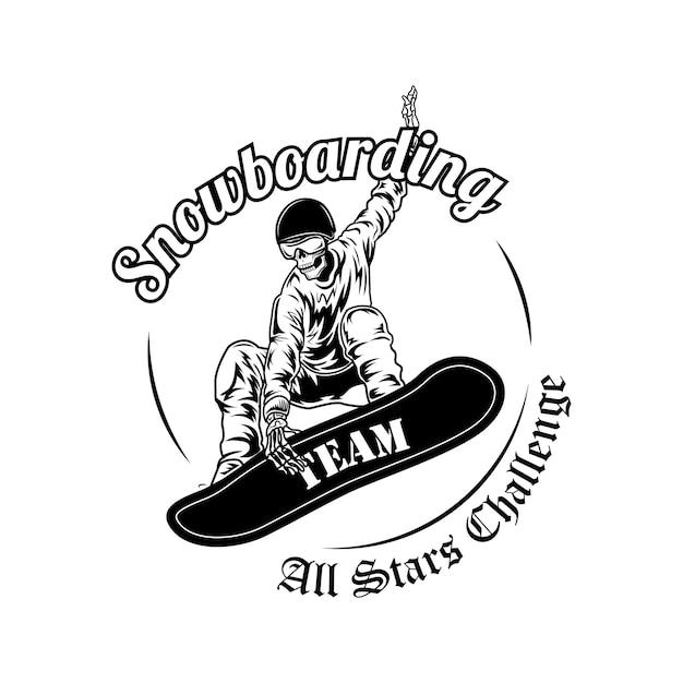 Ilustração em vetor símbolo snowboarder. esqueleto em capacete com texto de equipe e desafio. conceito de atividade e esporte de inverno para estância de esqui ou modelos de emblemas de clubes e comunidades Vetor grátis