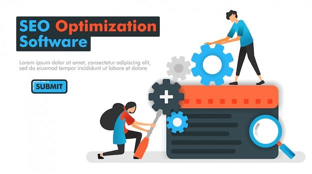 Ilustração em vetor software otimização seo Vetor Premium