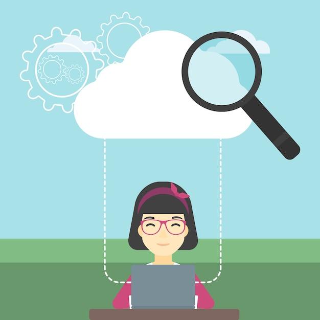Ilustração em vetor tecnologia computação em nuvem. Vetor Premium