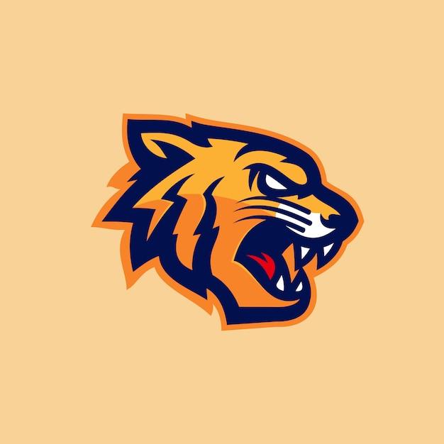Ilustração em vetor tigre cabeça esports logotipo mascote Vetor Premium