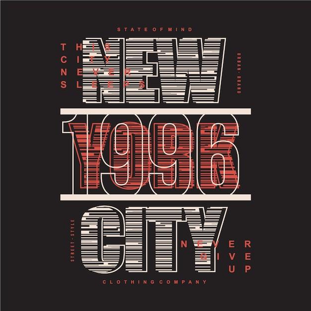 Ilustração em vetor tipografia listrada cidade de nova york para imprimir camiseta Vetor Premium