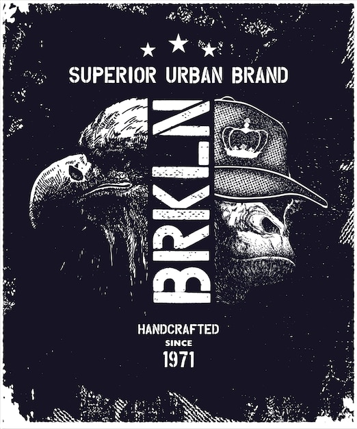 Ilustração em vetor tipografia urbana vintage Vetor Premium
