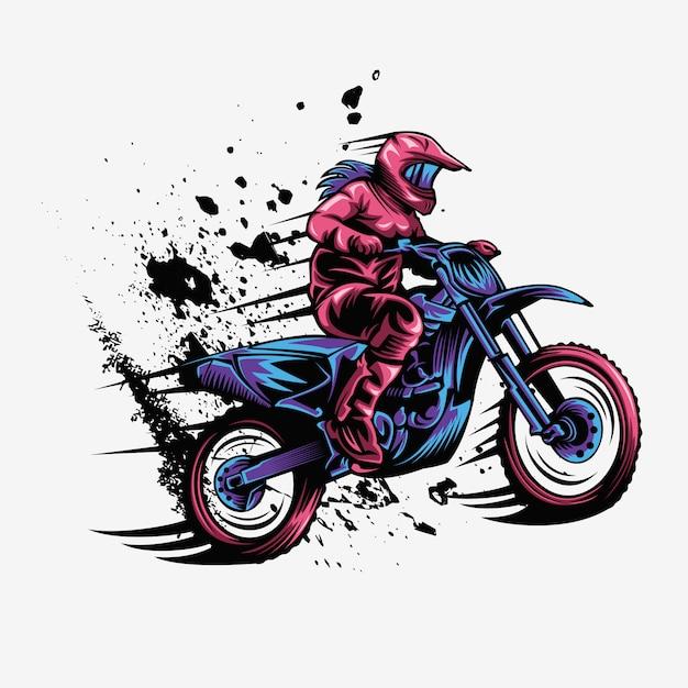 Ilustração em vetor velocidade motocross respingo feminino Vetor Premium