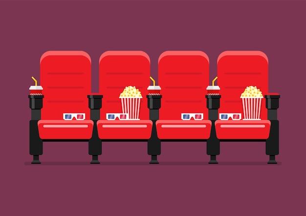 Ilustração em vetor vermelho cinema cadeiras Vetor Premium