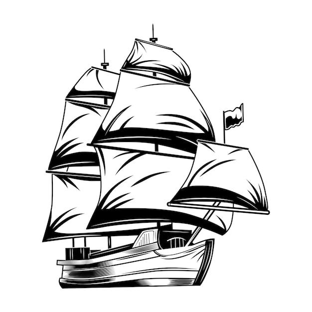 Ilustração em vetor vintage veleiro. veleiro clássico monocromático. Vetor grátis