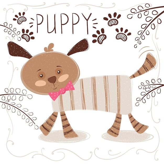 Ilustração engraçada dos desenhos animados do cão Vetor Premium