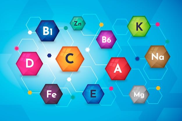 Ilustração essencial de vitaminas e minerais Vetor grátis