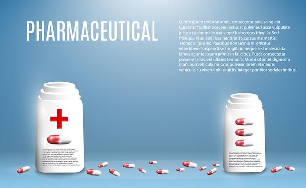 Ilustração farmacêutica de comprimidos voando para fora de uma garrafa em um fundo transparente. Vetor Premium