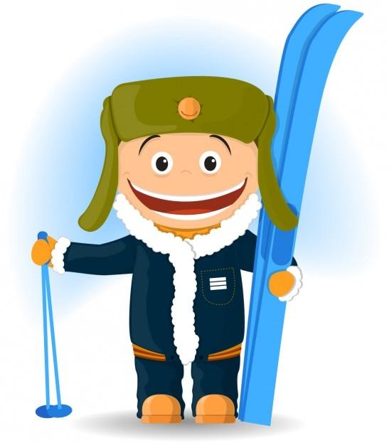 Ilustração feliz esquiador Vetor grátis