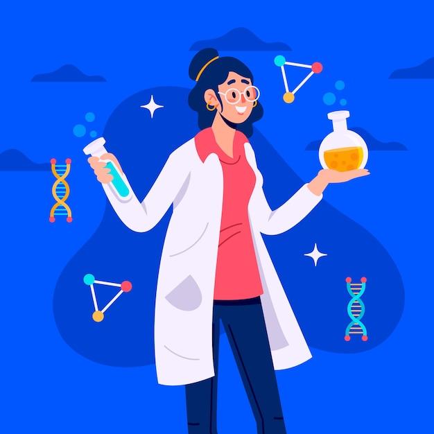 Ilustração feminina cientista Vetor grátis
