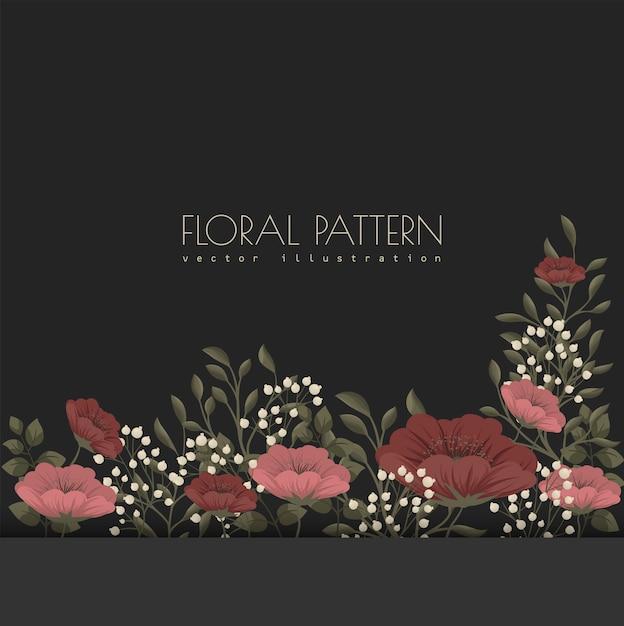 Ilustração floral escura - flores vermelhas e brancas Vetor grátis