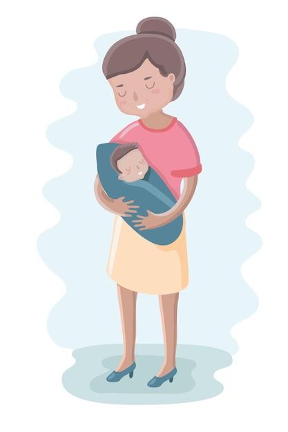 Ilustração fofa de mãe e bebê Vetor Premium