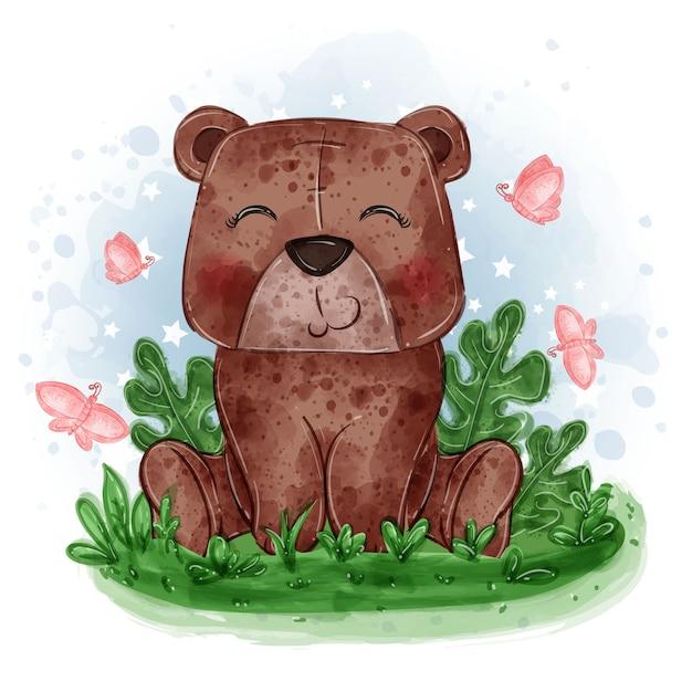 Ilustração fofa do bebê urso sentado na grama com borboleta Vetor grátis