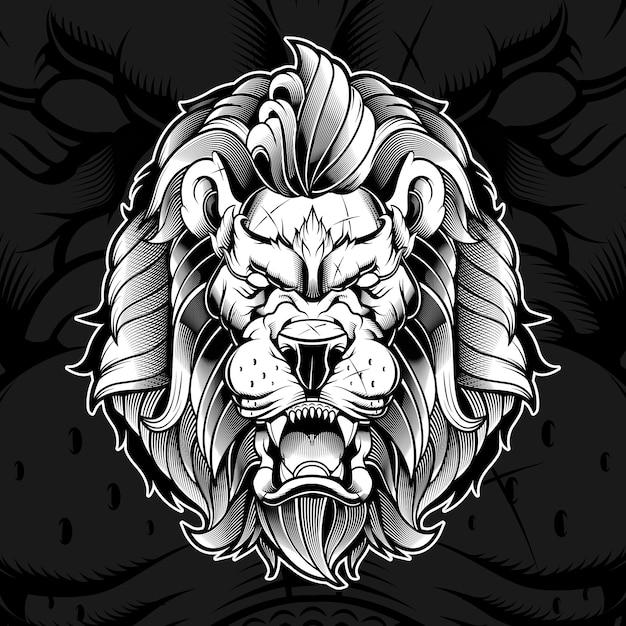 Ilustração furiosa cabeça de leão Vetor Premium
