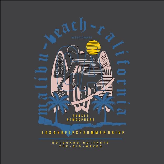 Ilustração gráfica da tipografia da praia de malibu para camisetas impressas Vetor Premium