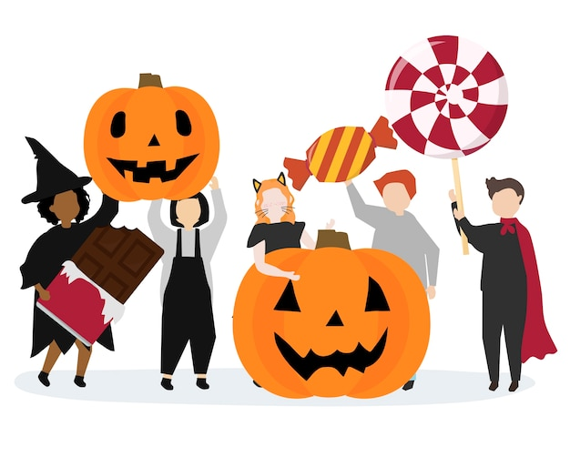 Ilustração gráfica festiva feliz dia das bruxas Vetor grátis