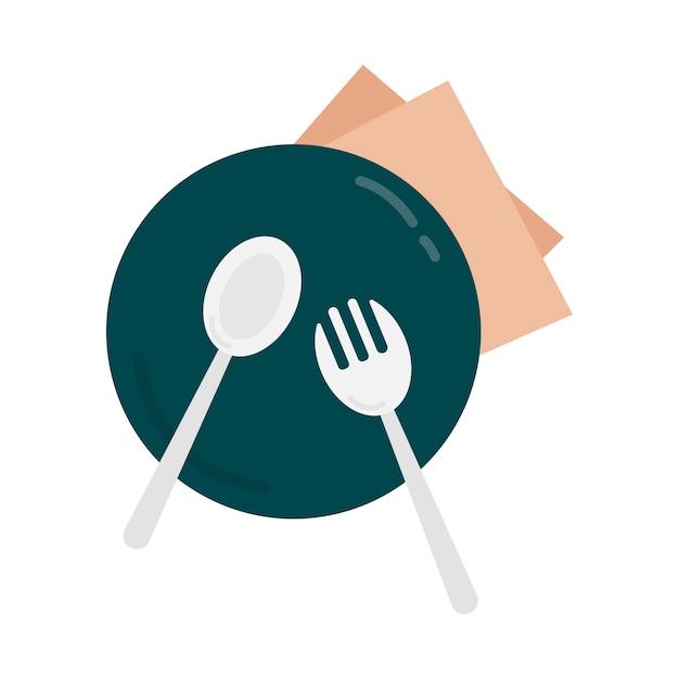Ilustração gráfica prato e talheres Vetor grátis