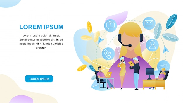 Ilustração group pessoas call center worker store Vetor Premium