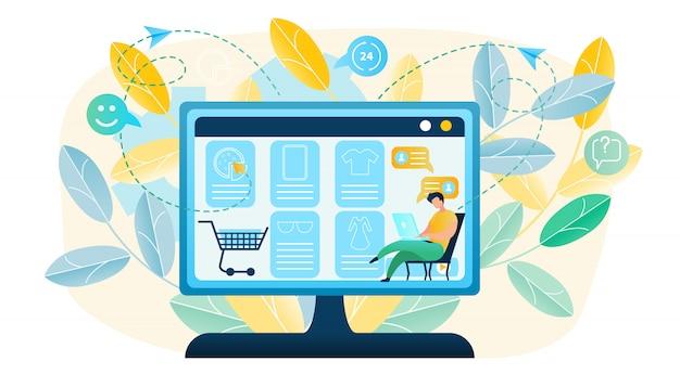 Ilustração homem produz compras on-line Vetor Premium