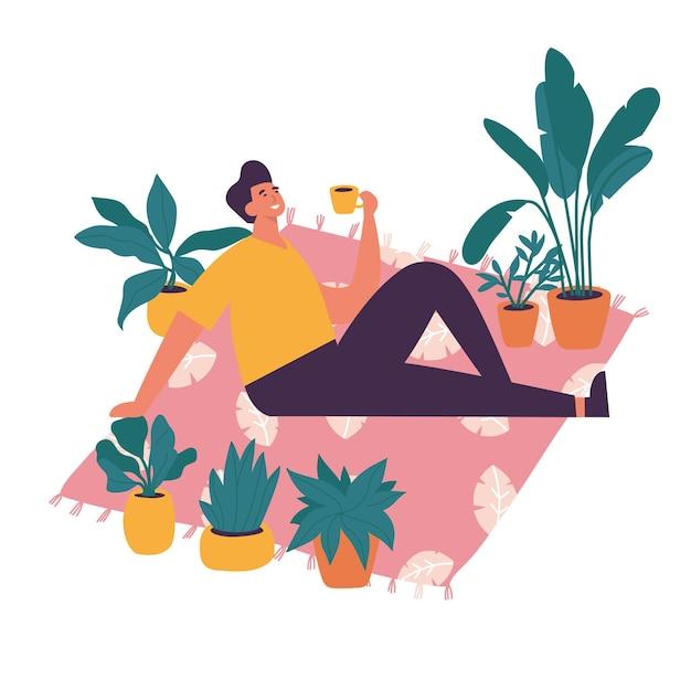 Ilustração homem sentado e descansando no tapete com uma xícara de café. Vetor Premium