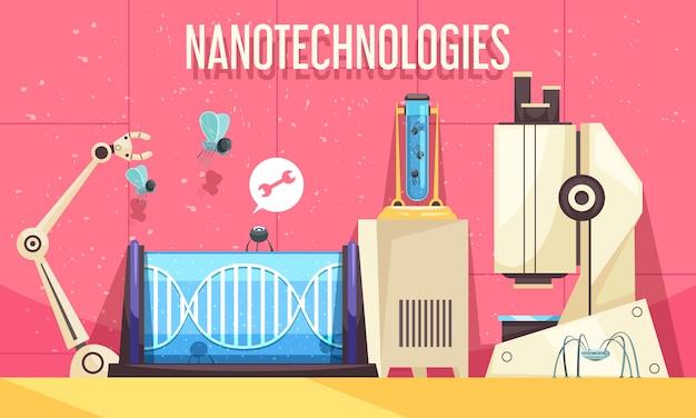 Ilustração horizontal de nanotecnologias com elementos de dispositivos modernos usados em engenharia genética e pesquisa científica Vetor grátis