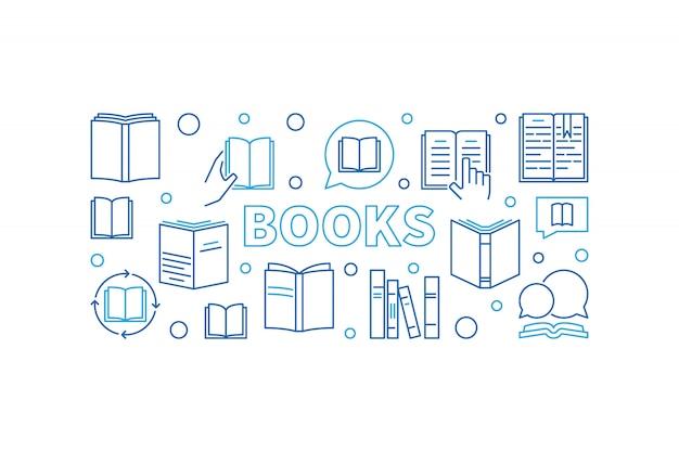 Ilustração horizontal do esboço do vetor dos livros. banner de conceito de educação e aprendizagem com ícones lineares de livro Vetor Premium