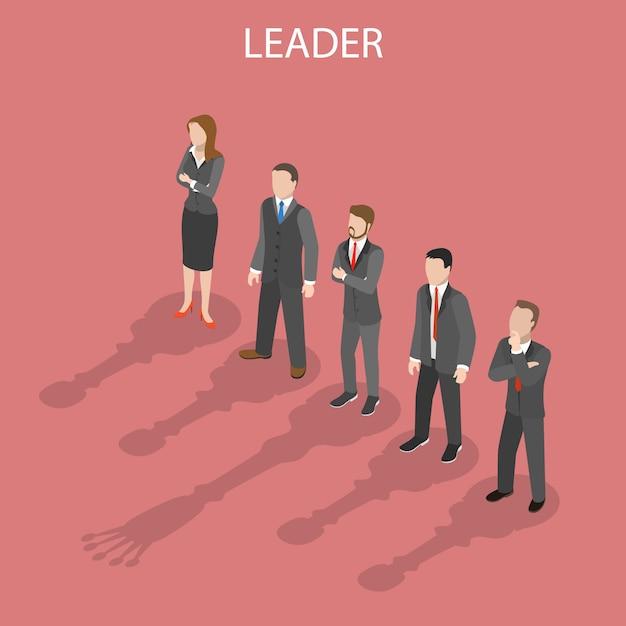 Ilustração ilustrativa plana isométrica de líder de equipe. Vetor Premium