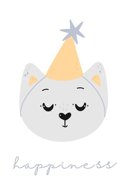 Ilustração infantil com gato fofo em um chapéu de festa Vetor Premium